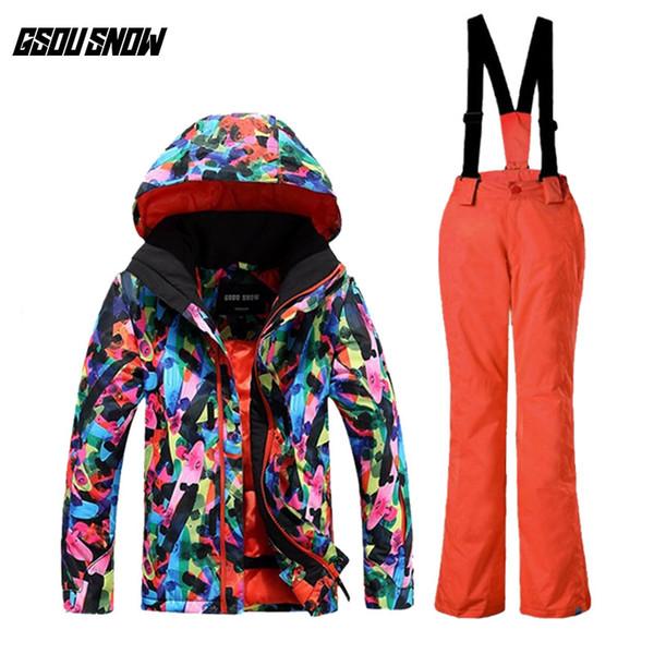 GSOU SNOW Children's Ski Suit Winter Waterproof Windproof Breathable Warm Ski Jacket Suspender Trousers For Unisex Size XS-M