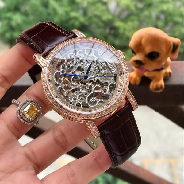 Esqueleto Todos los diamantes de trabajo BEZEL Oro rosa 42 MM CASE mecánico automático automático reloj de los hombres al por mayor de moda de acero inoxidable para hombre nuevo watche
