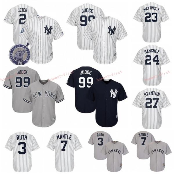 Maglia da baseball New York 99 Aaron Judge Yankees 27 Giancarlo Stanton 25 Torres 23 Don Mattingly 24 Gary Sanchez 3 Babe Ruth 7 Mantle Jeter