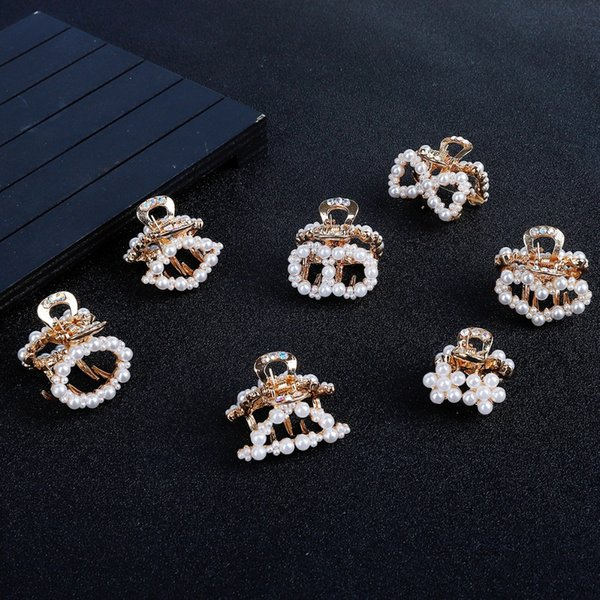 1pc luxury rhinestone pearls metal geometric hairpins crab hair butterfly hair clips for girl styling accessories headwear