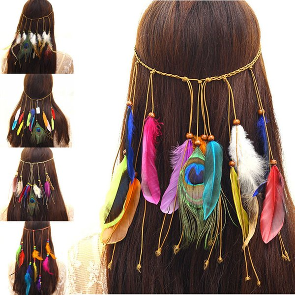 best selling Hand Made Indian National Peacock Feather Hairbands Woman Bohemia Head band Female Travel Tassel Hair Accessory Hair Jewelry drop ship
