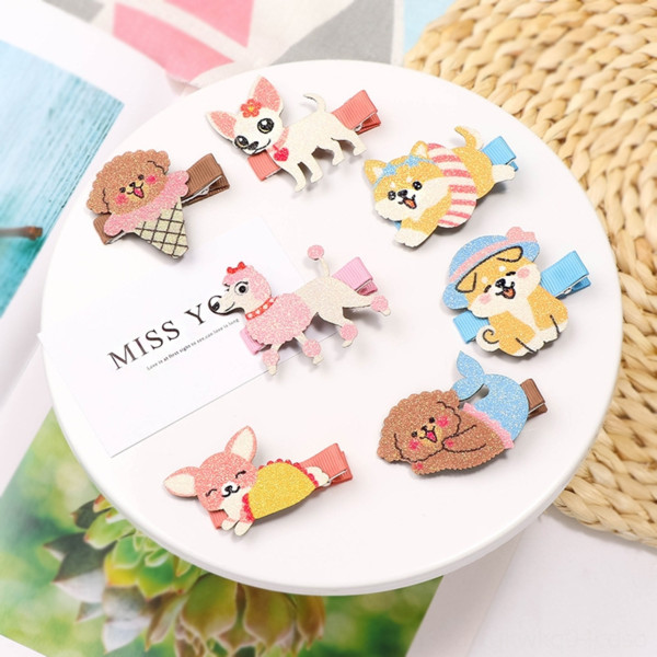 top popular Summer cute cartoon pet dog hairpin 200405 super cute animal parent-child hair accessories dog hairpin pet side clip holiday style baby side 2021