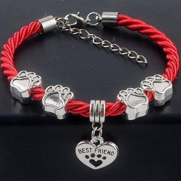 Hand Woven Bracelet Vintage Silver Best Friends Heart Bear Paw Dog Paw Print Bone Pet Dog String Bracelets For Women Gift Jewelry Accessorie