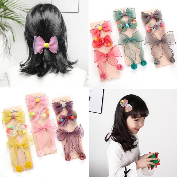 Ragazze Lace Ball bowknot Hair Clips Forcelle Barrettes Hairgrip carino Bambini Top Accessori per capelli Copricapo copricapo Regali insieme