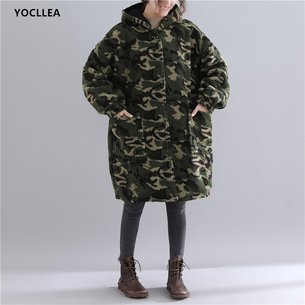 Reversible Wear Trench Coat women Autumn Winter Warm Add Velvet Tops long sleeve Hooded plus size Loose Causal Trench Outerwear