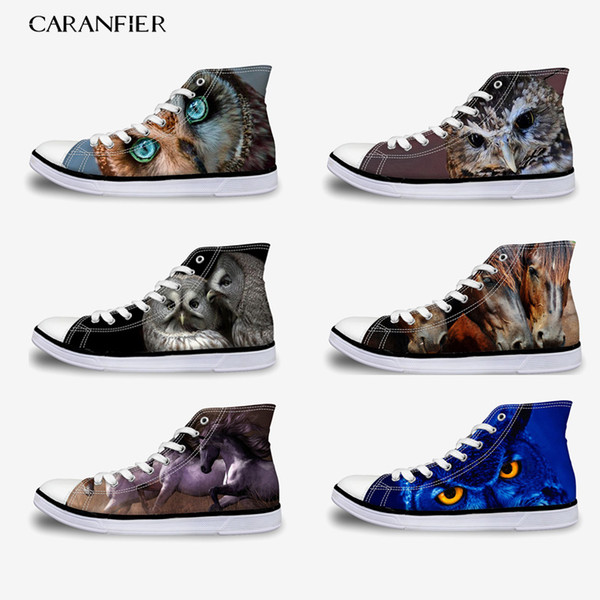 CARANFIER Women's New Oxford Flat Canvas Shoes Unisex Printing Patten Comfortable Lace-Up Outdoor Large Size 35-45 High Shoes