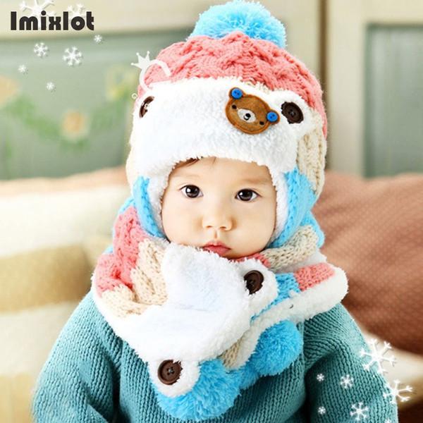 Ensemble de bonnets pour enfants unisexe Ensemble de vêtements de dessin animé à rayures en tricot pour enfants, chapeau de velours et écharpe, ensemble de costume d'hiver chaud