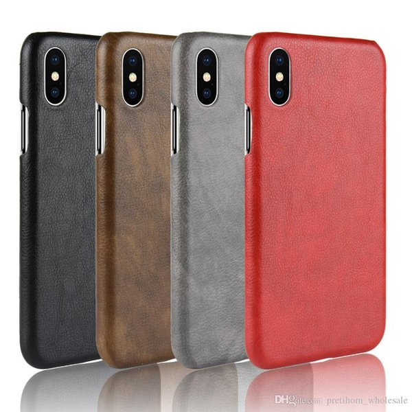 Litchi texture phone case for Samsung Galaxy S9 back cover leather PU for iphone Xs max XR X 6S 6 7 8 plus