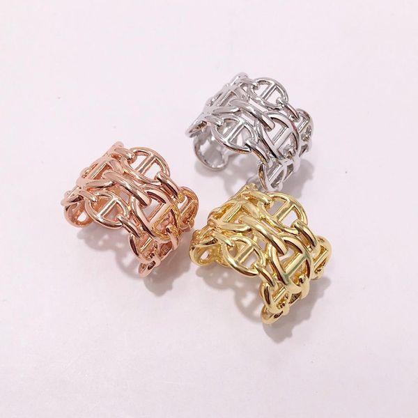 ارتفعت الأزياء التيتانيوم الصلب العلامة التجارية الذهب الخواتم الفضية مفتوحة H للنساء الرجال الحب حلقة حفل زفاف عيد الحب هدية المجوهرات بالجملة