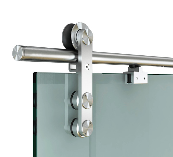 best selling DIYHD 6.6FT Soft Close Glass Barn Door Hardware Stainless Steel Two Sides Soft Close Mechanism Office Glass Sliding Door Track with One Side