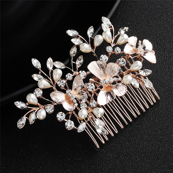 Vintage Bridal Pearls Decoration Hair Comb Rhinestone Wedding Hair Accessories Butterfly Hair Pins for Bride Bridesmaid 2pcs Free Shipping