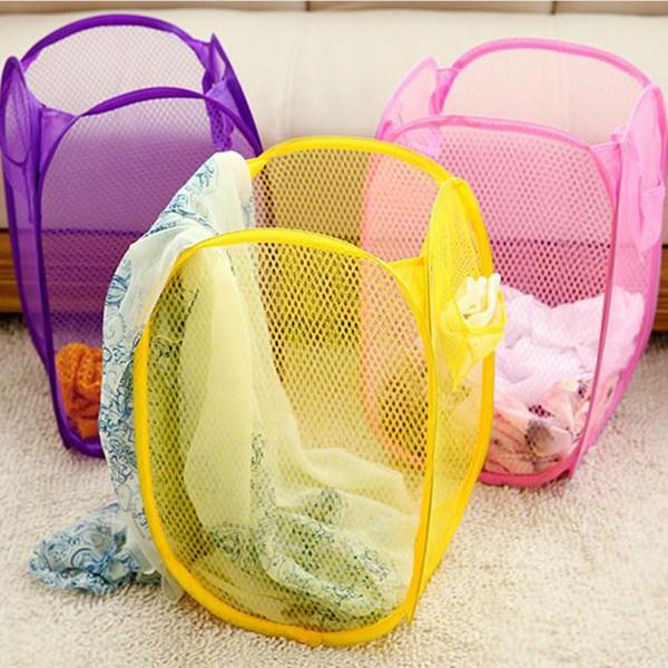 Foldable Mesh Laundry Basket Pop Up Dirty Clothes Washing Laundry Baskets Bin Hamper Storage Bag Organizer Home Storage Supplies DH1234