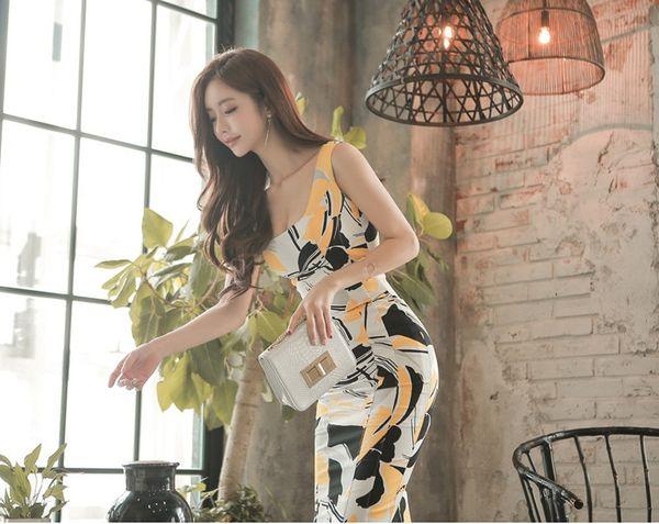 4 Размеры Мода Новый Корейский ПР Печати Простое Платье Без Рукавов Тонкий для Летней Одежды Средней длины Юбки QC0219