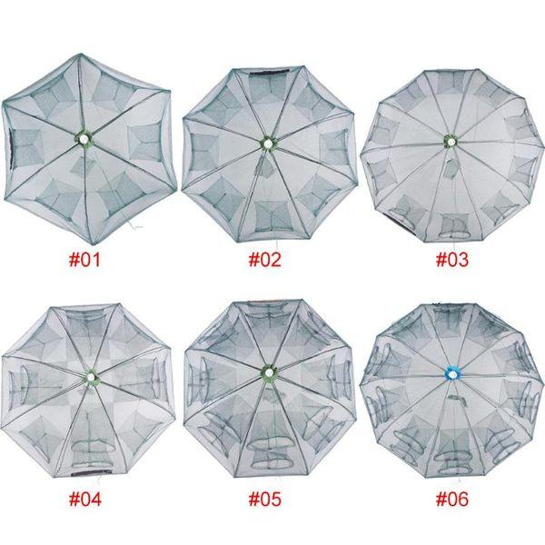 Verstärkte 6-20 Löcher Automatische Fischernetz Garnelenkäfig Nylon Faltbare Krabbenfischfalle Cast Net Cast Folding Fishing Network