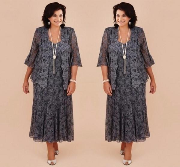 Artı Boyutu Gri Dantel Çay Boyu anne Ceket ile Gelin Elbiseler Örgün Gelin Anne Düğün Parti Elbise vestido de renda
