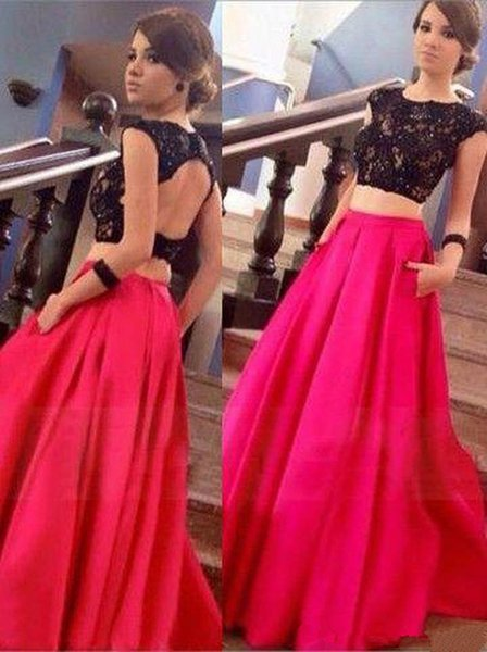 Prom Dresses Sexy Separation Two-piece Lace Decorated Small Round Collar Wrapped Shoulder and Back with Pockets and Customized Baggage