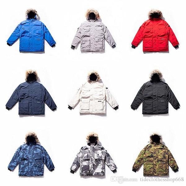 2019 de alta qualidade lobo pele para baixo casaco mens ganso casacos de ganso preto Navy Grey Goose baixo do hoodie homens mulheres jaqueta de inverno casaco XS-2XL