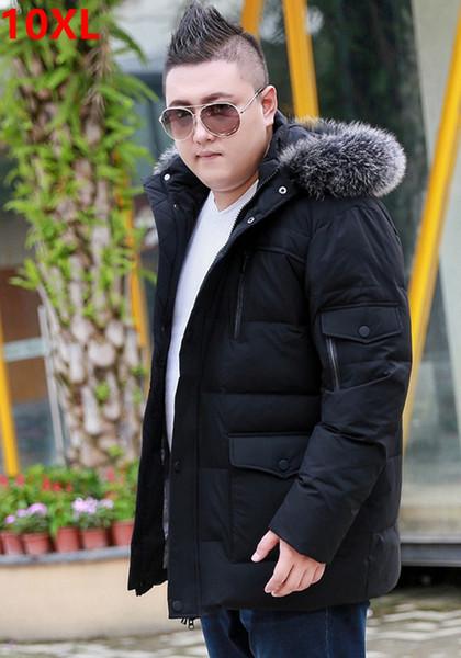 Invierno popular más fertilizante XL para hombres chaqueta extra grande abrigo gente grande con capucha negocio informal cuello de piel mantener caliente