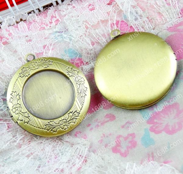 10pcs 36*32.5MM fit 20MM antique bronze round photo locket pendants for necklace vintage picture frame charm pendant metal wish box