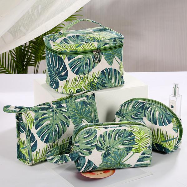 Maquiagem lona impressa Organizador armazenamento saco de viagem cosméticos sacos impermeáveis grande capacidade de Higiene Pessoal Bolsa de escova da composição Bolsas
