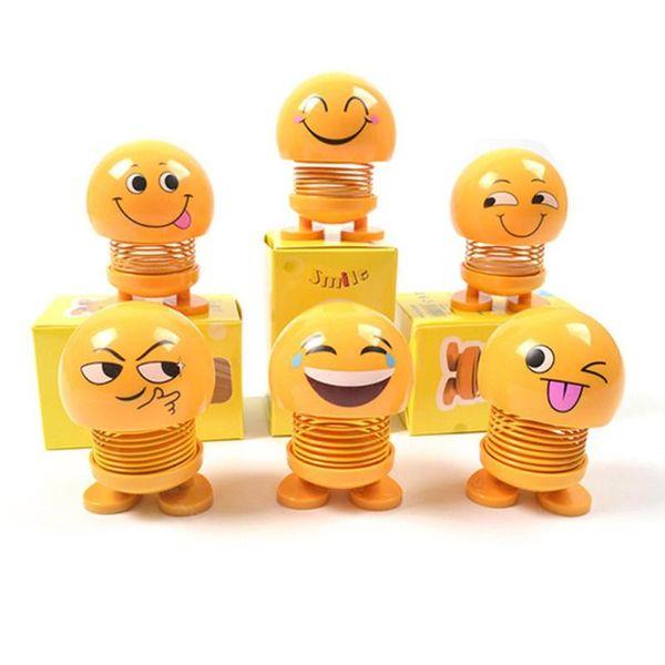 Sevimli Araba Sallayarak Kafa Oyuncaklar Oto İç Süsler Aksesuarları Emoji Çalkalayıcı Oto Dekorları Bahar Sallayarak Kafa Bebek Dekorasyon Oyuncak HHA62