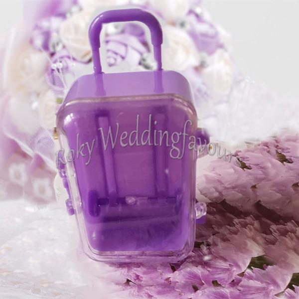 ENVÍO GRATIS 12 UNIDS Púrpura Acrílico Mini Rolling Travel Maleta Caja de Dulces Ducha de Bebé Favores de Boda Fiesta de Fiesta Suministros de Mesa Ideas