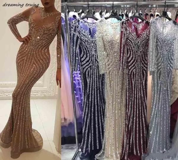 Luxury Bling Bling Beaded Long Mermaid Prom Dresses Hot Sale Long Sleeve O Neck Saudi Arabia Women Evening Gown 2019 Vintage