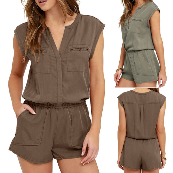 New Angekommen Caasual Playsuits Fashion Frauen Sexy Overall Ärmel Hosen Bodysuit Top Strampelhöschen Frauen Overalls Overalls #C