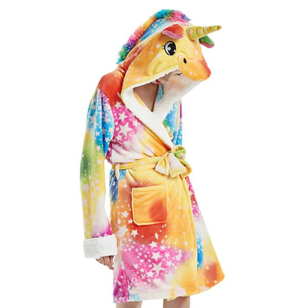 Winter Women Unicorn Faux Fur Sleeping Robe Plush Warm Bathrobe Nightgown Female Cute Night Robe Home Sleepwear Shower