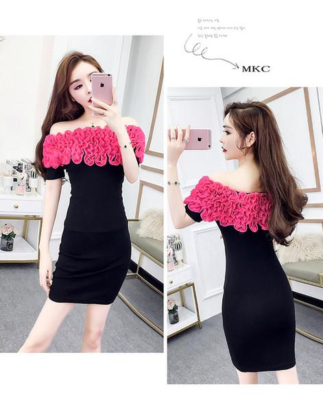 Summer 2019 New Korean Sexy Women Clothing Nightclub Wear Chiffon Lotus leaf Slash Neck Party Beach Dress Short Skirt QC0156