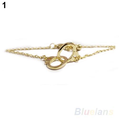 Wholesale-Hot Sale Fashion Concise Style European Retro Cute Alloy Handcuffs Bracelet Chain Link 7EZM
