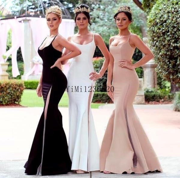 Compre Nuevo Sirena Simple Vestidos De Dama De Honor 2020 Espaguetis Altos Muslos Sin Espalda Jardín País Boda Vestidos De Invitados Vestido De Dama