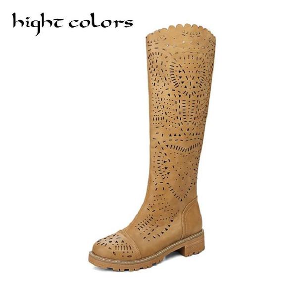 Kadınlar Beyaz Sarı Yüksek Bacak Tek Boots Yuvarlak Burun Kalın Topuklar için 2019 İlkbahar Yaz Moda Kesim Serin Boots ABD 10.5 Ayakkabı