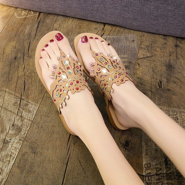 2019 New Fashion Summer Flip Flops Women Pumps Crystal Rhinestone Solid Shoes Home Slippers Slippers Flats Shoes Women 5147