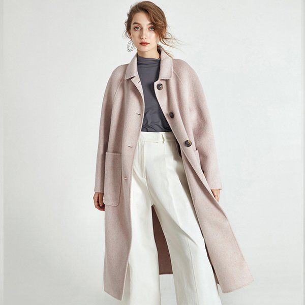 Double-sided Cashmere Coat Female 2018 Autumn Winter New Temperament  A Line Single Breasted Woolen Coat Long