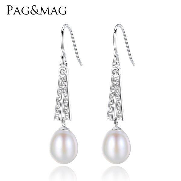PAG&MAG Fashion Brand Wedding & Engagement Jewelry Solid 925 Sterling Silver Long Earrings With Top Quality Pearls Wedding gift