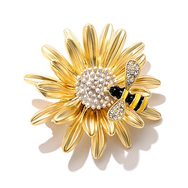 Schöne 3D Biene Chrysantheme Daisy Blume Brosche Mode Corsage Brosche Pins für Frauen Mantel oder Hochzeitssträuße handgemachte Geschenke