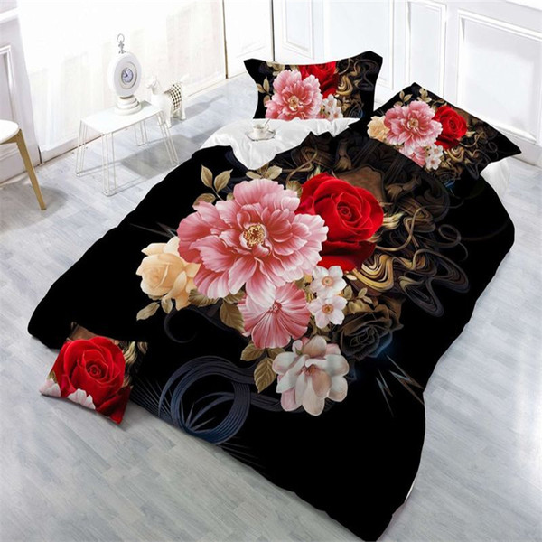 2018 new 4Pcs King Size Luxury 3D Rose Bedding SetS Red Color Bedclothes Comforter Cover Set Wedding Bed linen peony / leopard