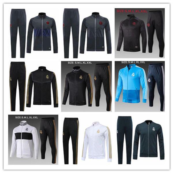 Top-Qualität 2019 20 Real Madrid Jacke Trainingsanzug Set 19-20 Liverpool Full Zip Jacke Herren PSG Fußball Trikots Sportswear