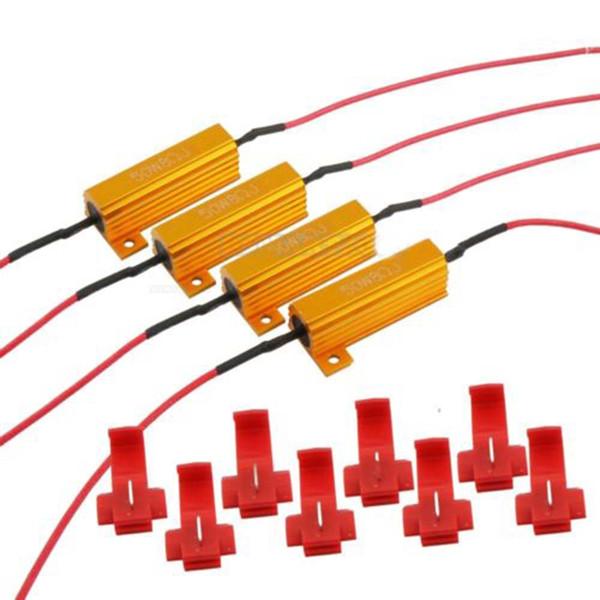 4X Araba LED DRL Sis Işık Lens Dönüş Singal Yük Dirençleri LED ampul Hızlı Hiper Flaş Dönüş Sinyali Kablolama Canceller Dekoder 50 W 8Ohm