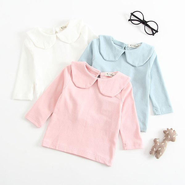 Newborn Baby Girls T Shirt Fashion Princess Peter Pan Collar Pink White Cotton Solid Long Sleeve Blouse T-Shirt Bottoming Shirts