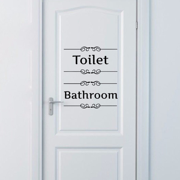 Bathroom Decor Wall Sticker Toilet Door Entrance Sign Vinyl Decal Transfer Vintage Decoration Quote Wall Art Free shipping