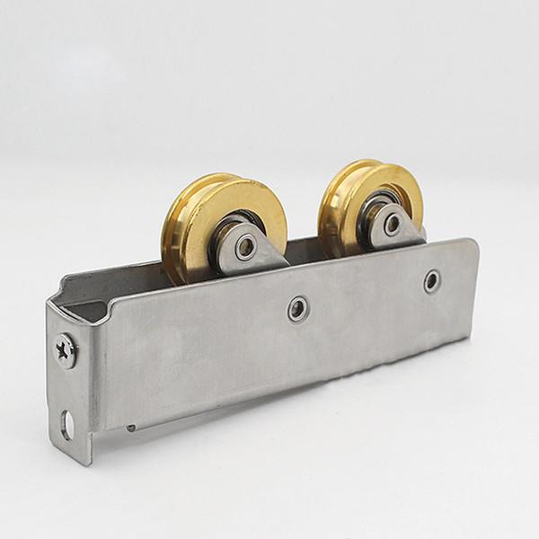 90style window roller sliding door plastic steel window pulley concave stainless steel wheel mute brass roller hardware