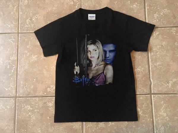 1998 Buffy contre les vampires Buffy Angel Angs Double face Vintage Reprintmens 2019 Marque de mode T Shirt O - Cou 100% coton