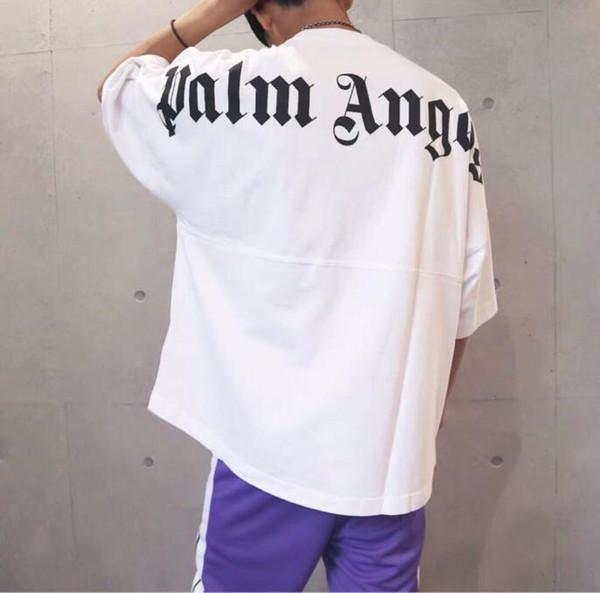 Fashion-2019 Best Palm Angels T-shirt Lettre d'impression Hommes t-shirt Hip Hop Palm Angels Vêtements Mode T-shirt à manche courte T-shirts Noir Blanc