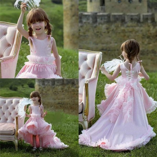 Well Designed Princess Dress with Pearls High Low Ruffles Pageant Gowns Flower Girl Dress For Wedding Any size And Any Color