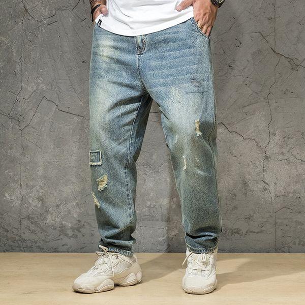 Oversize Men Regular Fit Straight Jeans Plus Size Denim Pants Classic Spring And Autumn Men's Clothing 2019 30 32-38 40 42 44 46