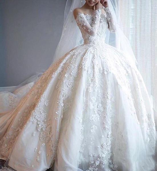 Luxury Saudi Arabic Wedding Dresses Long Sleeve Lace Appliques Flowers Robe De Mariage Sweep Train Bridal Gowns DB014