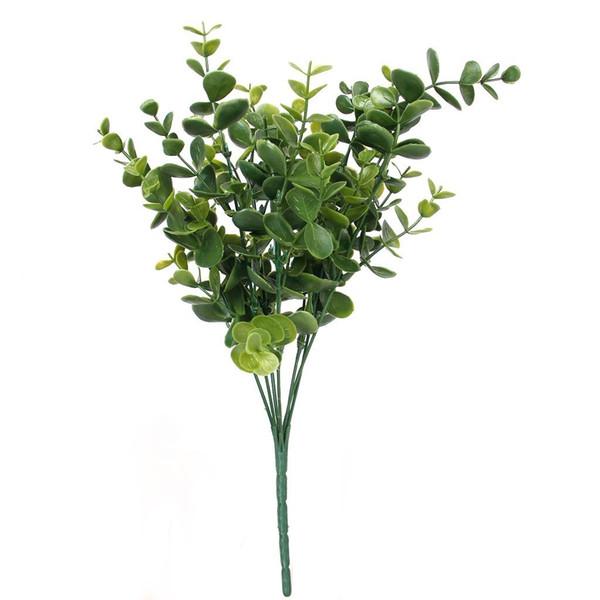 Simulation décorative Eucalyptus multi Utilisation Verdure Plantes Real Touch en plastique Eucalyptus feuilles pour jardin Décor coloré
