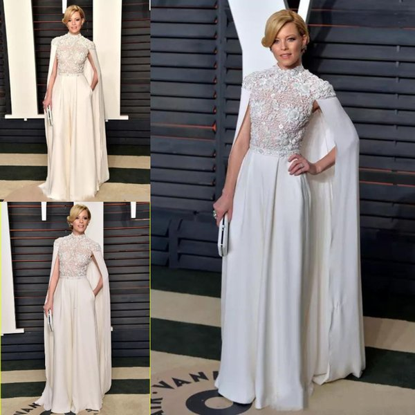 577471b2bc944 Elegant Arabic White Jumpsuits Evening Formal Wear With Long Wrap High Neck  2019 Top Lace Appliques Caps Prom Party Dresses Celebrity Gowns